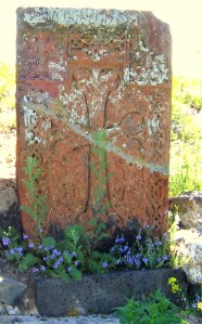 Armenian Khachkar (cross-stone) at Sevanavank monastery at Lake Sevan, Armenia.