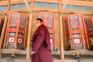 Two of the Prayer Wheel Circling the Labrang Tibetan Monastery