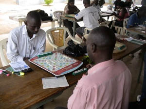 Playing Scrabble on Sunday in Kampala, Uganda