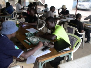 Kampala's Champion Scrabble Player (in the Lime Green Shirt)