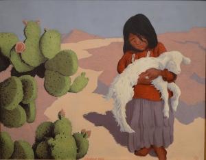 """Navajo Girl with Lamb"" by Conrad Burr (1940s)"