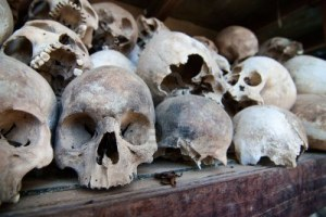 Skulls Stored in Choeung Ek Genocide Center Stupa