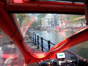 View Out the Front Window of Amsterdam's Solar Rickshaw