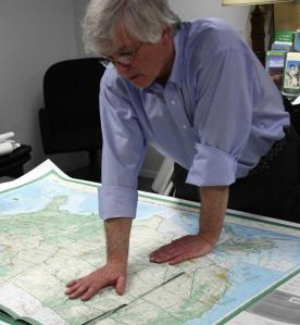 Dave Imus Perusing a Well-worn Copy of His USA Map