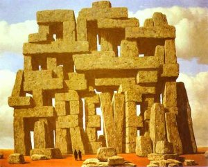 "Magritte's (1950) ""The Art of Conversation"" Encases the Word ""reve"" (dream) in a Stonehenge Type Structure"