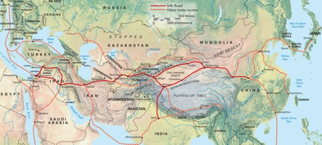 Map Illustrating Several of the Silk Routes Between East and West