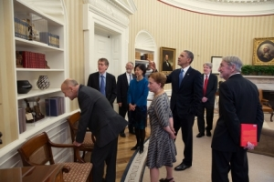 Lars and Grace (on the Left) Meeting Briefly with President Obama