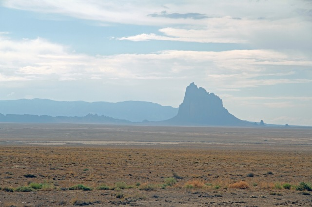 Shiprock, a Volcanic Plug, as Seen on a Hazy Day
