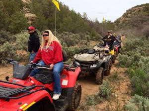 ATV Riders in Recapture Canyon with Their Yellow Flags
