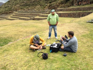 Assembling the Quad-copter at Tipon, Peru