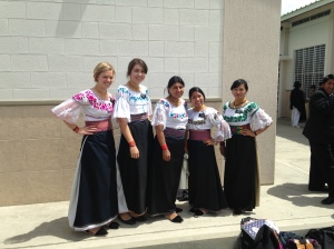 Sister Missionaries in Otavalo, Ecuador, in Local Attire