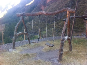 Natural-log Swing Set Located in Sacred Valley, Peru