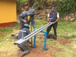 Installation of a Metal Teeter Totter near Calca, Peru