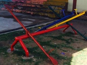 Metal Teeter Totter Located at a School in Cuzco