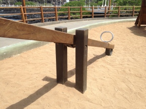 Wooden Teeter Totter in a Playground on a Galapagos Island.