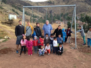 The Preschool Kids and My Family in Front of the Newly Installed Swing Set