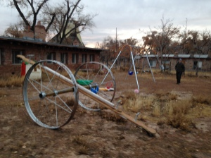 Sprinkler-wheel Teeter Totter at St. Christopher's Mission near Bluff UT