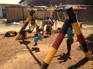 Completed Wooden Swing Set at Lira Preschool