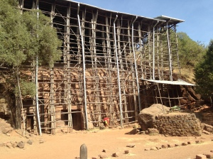 Scaffolding Used to Support a Temporary Roof Over an Ancient Rock-Hewn Rural Ethiopian Church