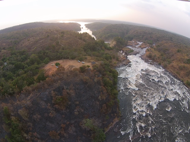 The Nile River Above (Bottom) and Below (Top) Murcheson Falls