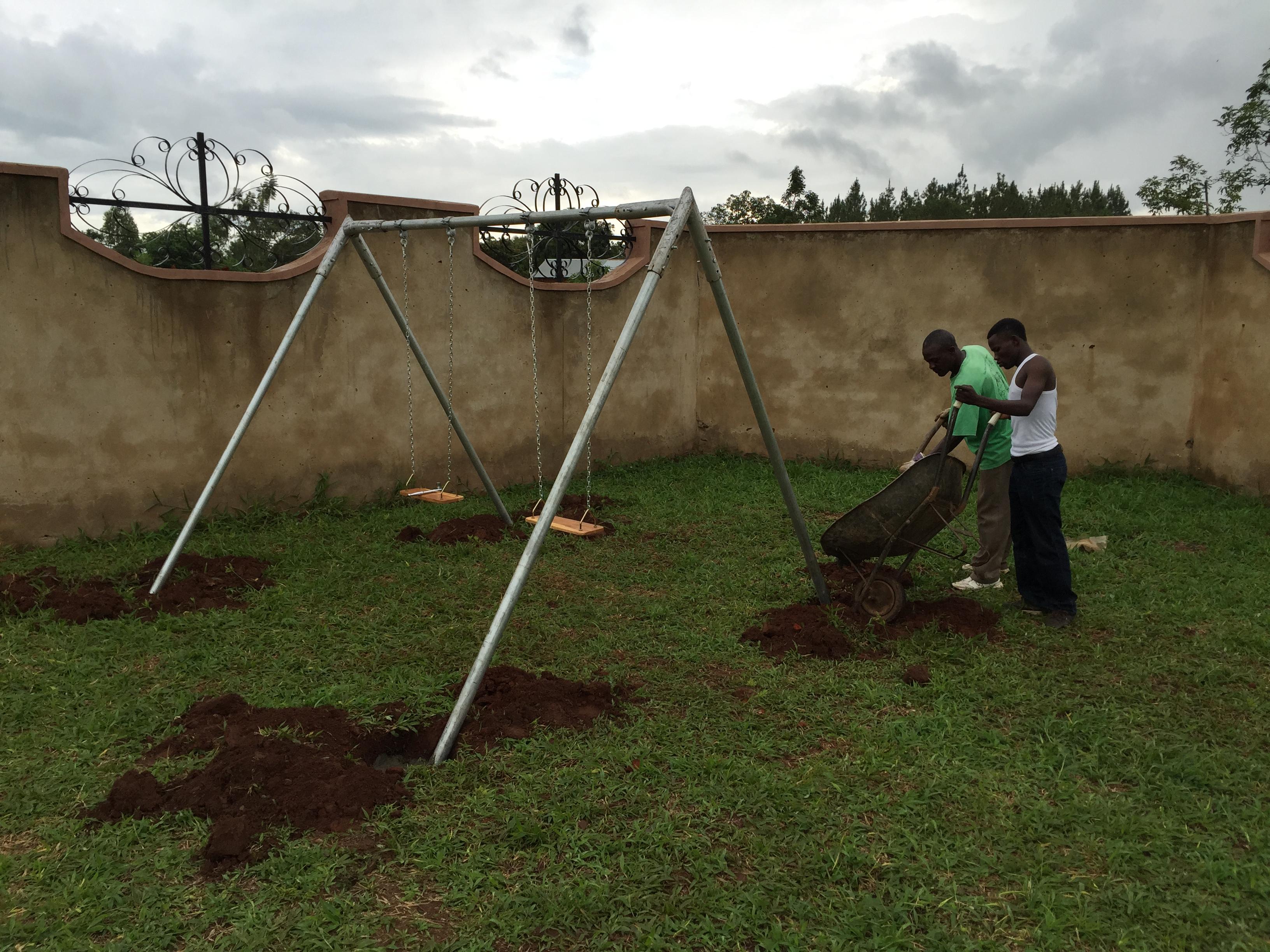 Installing Swing Sets In The Gulu Uganda Area Tired Road Warrior