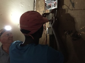 Working on the Solar-lighting System in the Girl's Dormitory