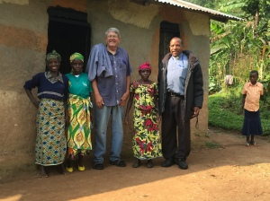 Rev. Enos, Myself, and Batwa Women near Buhoma, Uganda
