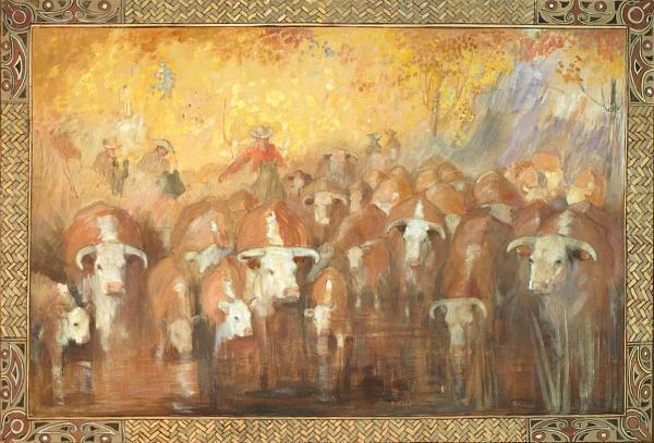 """Herding the Cattle Across the River"" by Minerva Teichert"