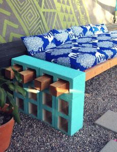 Bench Made Out of Cinder Blocks and 4x4s