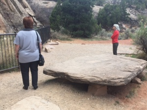 Sandstone Bench/Table at Newspaper Rock Petroglyph Site, Utah
