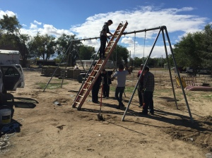 Finishing the Swing Set at Shiprock, New Mexico