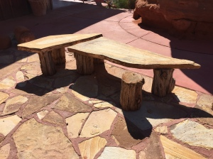Sandstone Benches with Juniper Log Legs (Twin Rocks Cafe in Bluff UT)