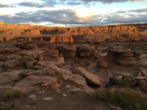 Sunset on the Eerie Formations in the Northern Navajo