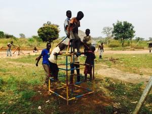 Children Enjoying Climbing Tower in Northern Uganda