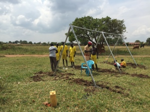 Our Crew Working on a Swing Set at the School for the Deaf in Lira, Uganda