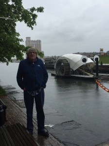The Author Visiting Mr. Trash Wheel on a Rainy Day in Baltimore
