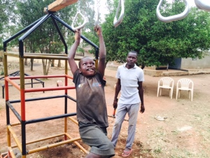 Using Monkey Rings at an Installation near Lira Uganda