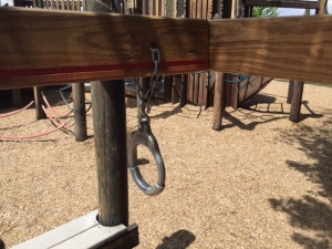 The Rings Are Attached to the Horizontal Beam with a Chain