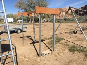 Monkey Ring Apparatus Constructed with Fence Poles Located near Bluff, Utah