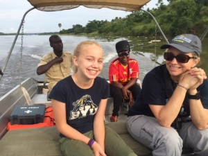 My Granddaughter Evelyn Enjoying the Victoria Nile from a Small Fishing Boat