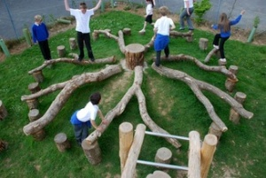 Logs Creatively Placed in a Natural Playground