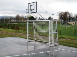 A Soccer Goal and Basketball Standard Combination