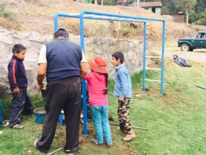 Monkey Bars Being Installed near Calca, Peru