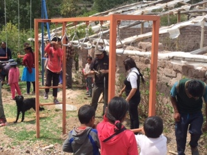 Monkey Rings Being Tested by Students at a Mountain School near Urubanba, Peru