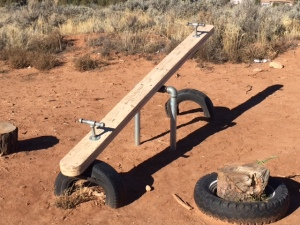 Wood and Metal Teeter Totter Installed at Westwater (Navajo Community near Blanding UT)