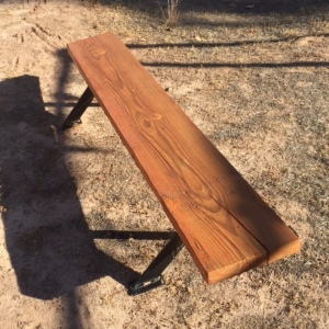 "Bench Constructed of 3""x 12"" Board 6' Long with Metal Legs"