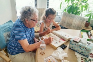 Anna Lou Coloring with Her Great Granddaughter Margot (Maggie).