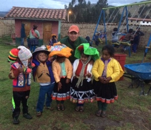 Quechua Children with Willow C-T at the Village School in Ccolcca, Peru